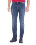 Contrast-Stitch Skinny Denim Jeans, Light Wash Blue/Red