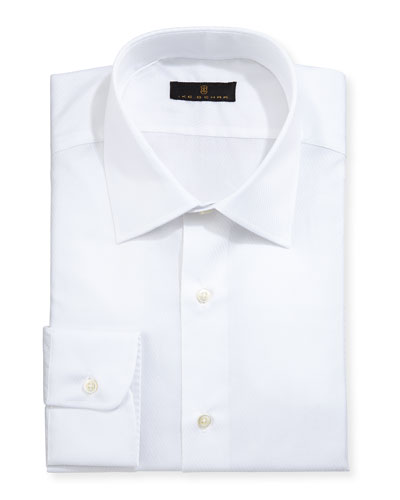 Gold Label Diagonal-Textured Dress Shirt, White
