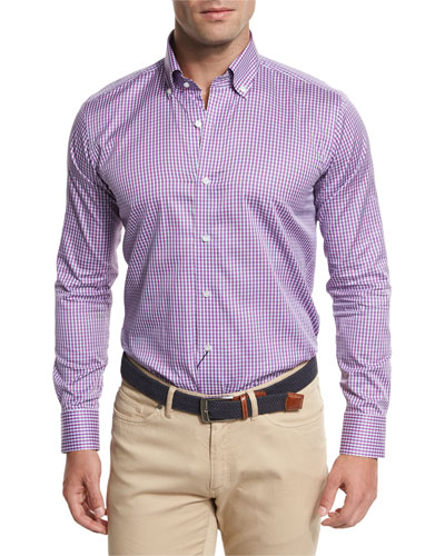 Horizon Check Sport Shirt, Lotus Blossom