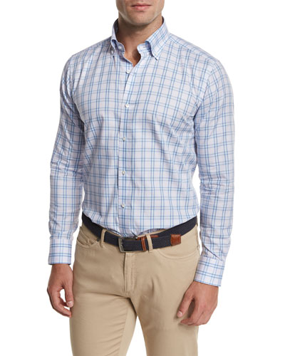 Gion Check Sport Shirt, Light Blue