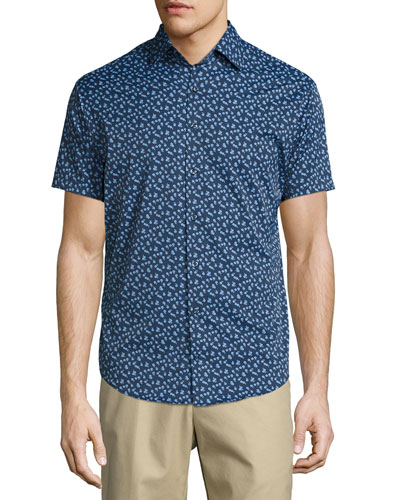 Frenchman Performance Floral-Print Short-Sleeve Sport Shirt, Navy