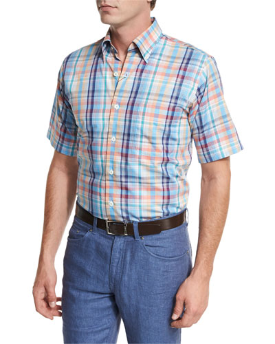 Sailing Plaid Short-Sleeve Sport Shirt, Bright Blue