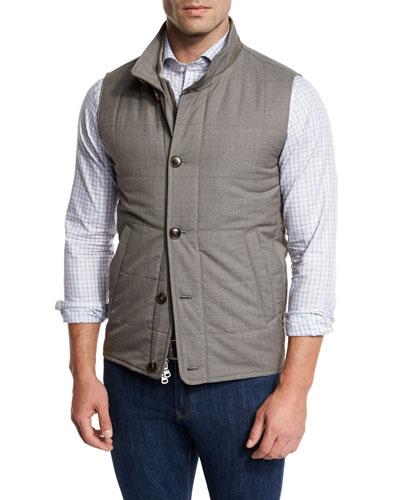 Caravan Quilted Wool Vest, Brown