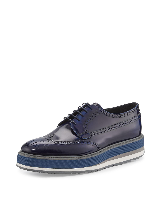 Leather Platform Brogue Creeper, Blue
