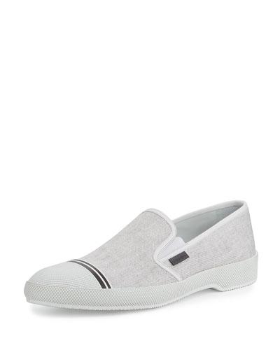 Denim Cap-Toe Slip-On Sneaker, White (Bianco)