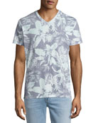 Mystique Tropical-Print V-Neck T-Shirt, Light Blue