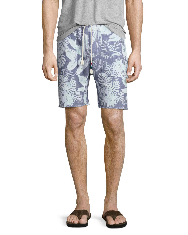 Mystique Tropical-Print Saddle Shorts, Light Blue