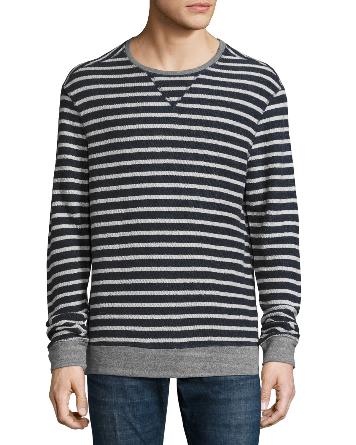 Striped Terrycloth Pullover, Navy