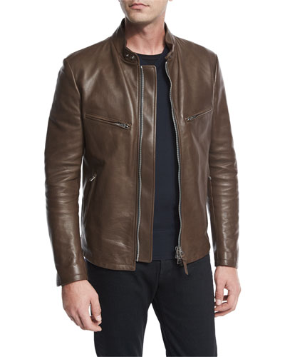 Leather Café Biker Jacket, Brown