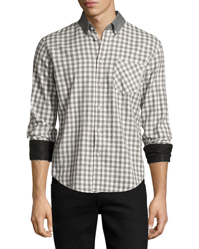 Yokohama Slim-Fit Check Flannel Shirt, White/Gray