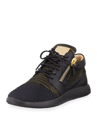 Men's Metallic Neoprene & Leather Trainer Sneaker