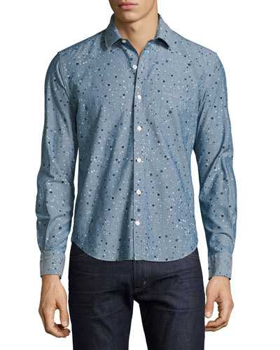 Multi-Dot Chambray Sport Shirt, Blue