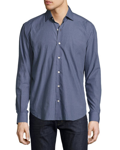 Sliced Dot Sport Shirt, Navy/White