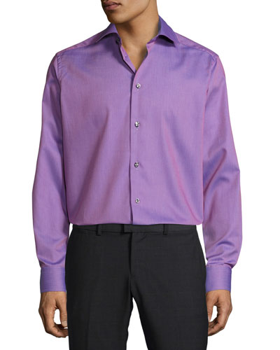 Textured Solid Button-Front Shirt, Pink