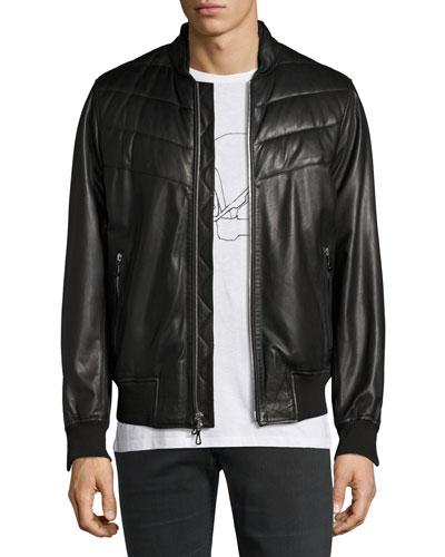 Gallagher Leather Bomber Jacket, Black