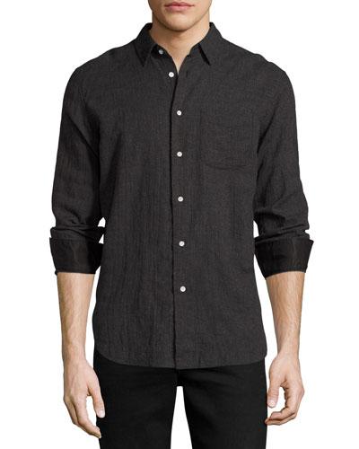Beach Mini-Houndstooth Shirt, Charcoal