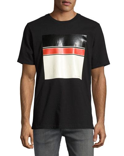 Colorblock Logo Graphic Crewneck T-Shirt, Black