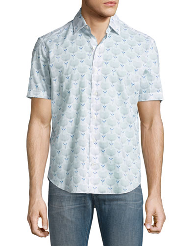Floral-Print Short-Sleeve Sport Shirt, White/Navy