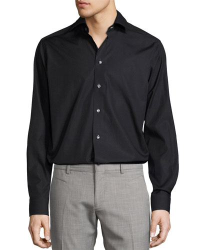 Pin-Dot Button-Front Shirt, Black