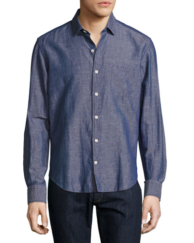 Melange Linen Sport Shirt, Blue/Red