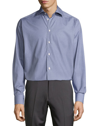 Textured Button-Front Shirt, Blue