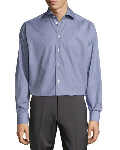 Textured Button-Front Shirt, Blue