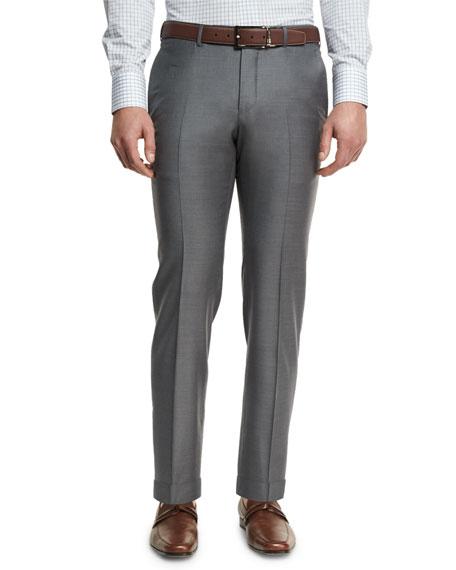 Ermenegildo Zegna Trofeo Flat-Front Regular-Fit Trousers, Gray