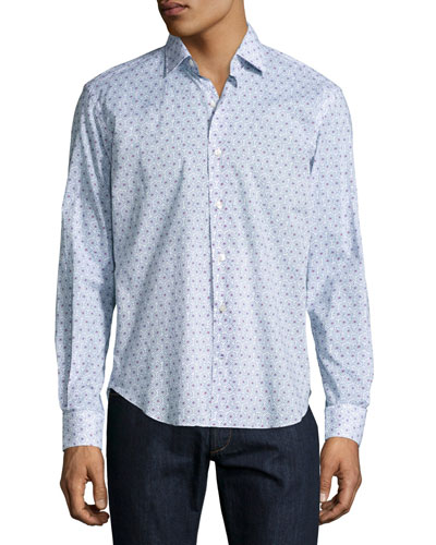 Starburst-Print Sport Shirt, White/Blue/Red