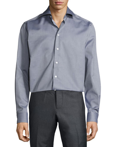 Textured Button-Front Shirt, Gray