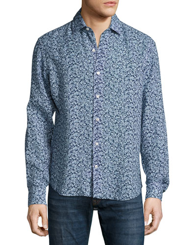 Floral-Print Linen Sport Shirt, Navy/Light Blue