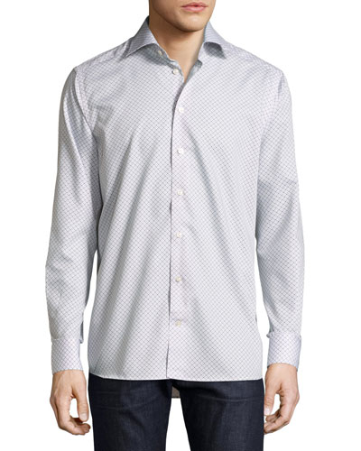 Contemporary-Fit Geometric-Print Sport Shirt, Beige/Blue