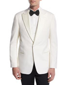 Satin-Lapel Dinner Jacket, White