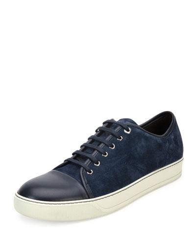 Men's Suede Cap-Toe Low-Top Sneaker