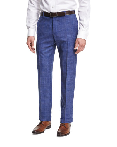 Plaid Linen Flat-Front Straight-Leg Trousers, Blue