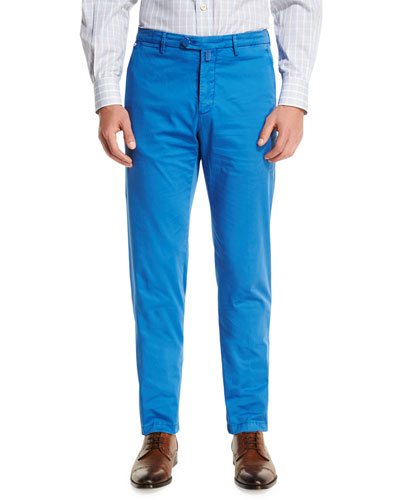 Flat-Front Chino Pants, Blue
