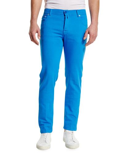 Twill Five-Pocket Pants, Capri Blue