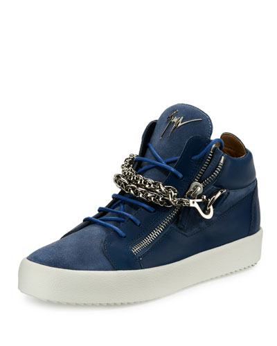 Men's Suede & Leather Mid-Top Sneakers w/Chain Link Strap, Blue