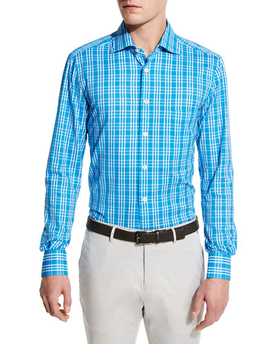 Plaid Sport Shirt, Capri Blue
