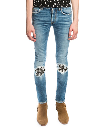 Low-Waist Studded Leather-Patch Skinny Jeans, Medium Vintage Blue