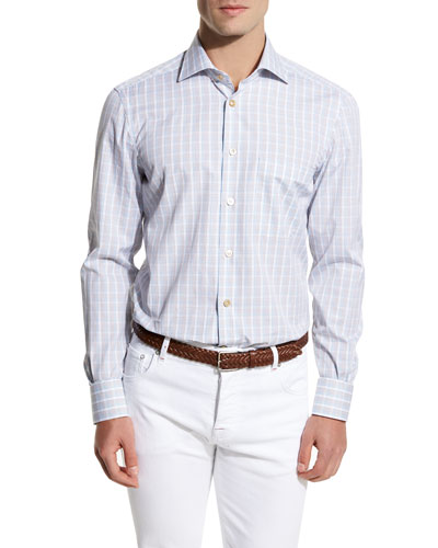 Plaid Sport Shirt, Blue/Brown/White