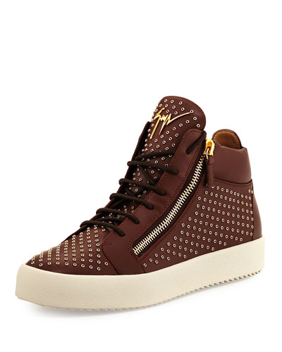 Leather Mid-Top Sneaker with Eyelets, Brown