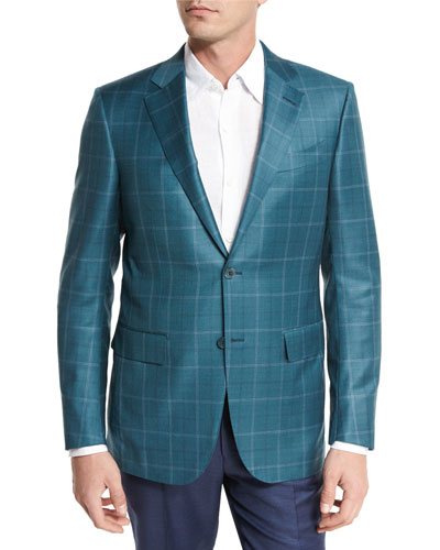 Plaid Wool Two-Button Sport Coat, Green