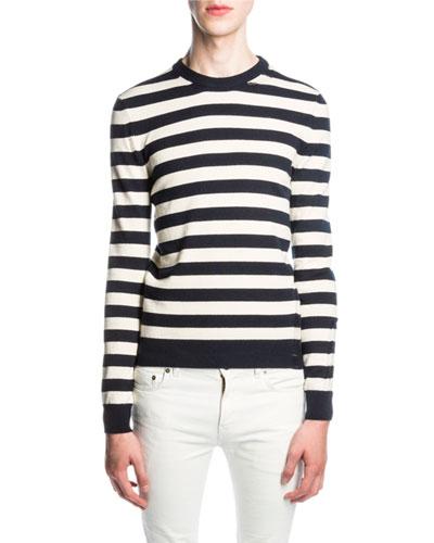Striped Cashmere Sweater, Blue/White