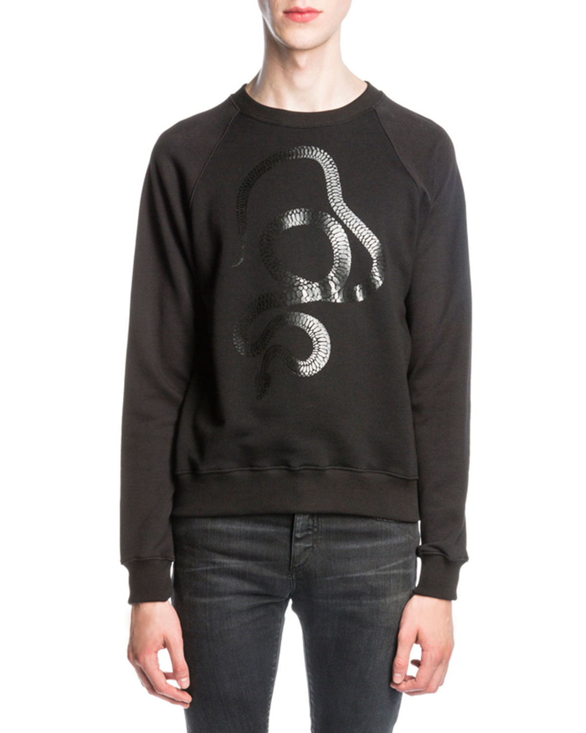 Metallic Snake-Print Sweatshirt, Black