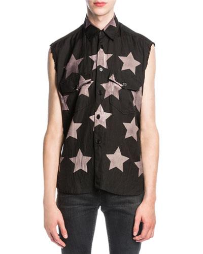 Bleached-Star Sleeveless Shirt, Black