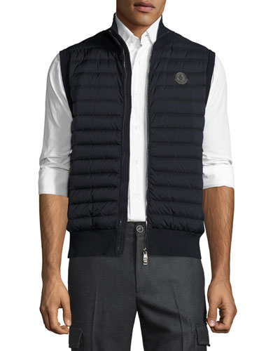 Rib-Trim Quilted Vest, Black
