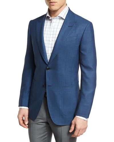 Manhattan Textured Two-Button Sport Coat, Blue