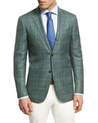 Plaid Three-Button Sport Coat, Lime