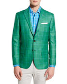 Windowpane Cashmere-Silk Three-Button Sport Coat, Green