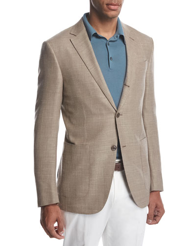 Three-Button Wool-Silk-Linen Blazer, Tan